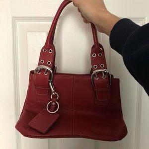 Red leather Tignanello purse